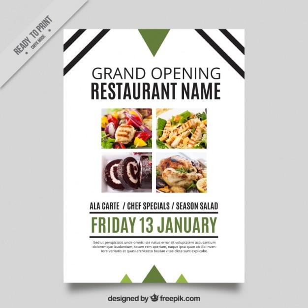 Moderne Eröffnung Restaurant Broschüre mit Linien und Dreiecke ...