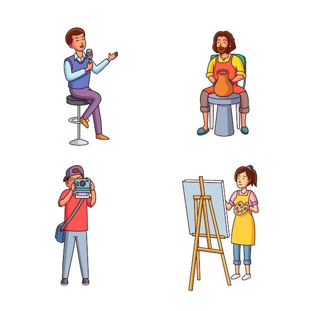 Moderne erwachsene machen kulturelle aktivitäten Kostenlosen Vektoren