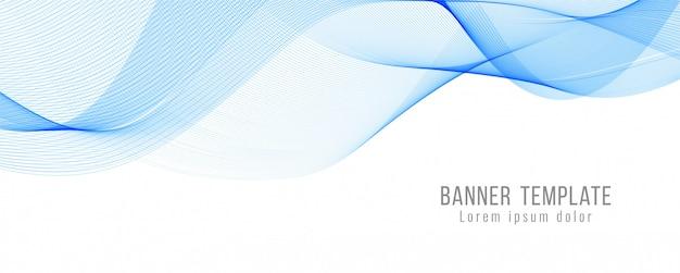 Moderne fahnenschablone der abstrakten blauen welle Kostenlosen Vektoren
