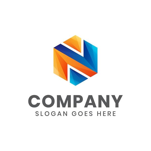 Moderne farbe anfangsbuchstabe n sechseck logo für ihr unternehmen oder unternehmen Premium Vektoren