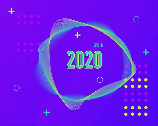 Moderne farbige linie hintergrund 2020. Premium Vektoren