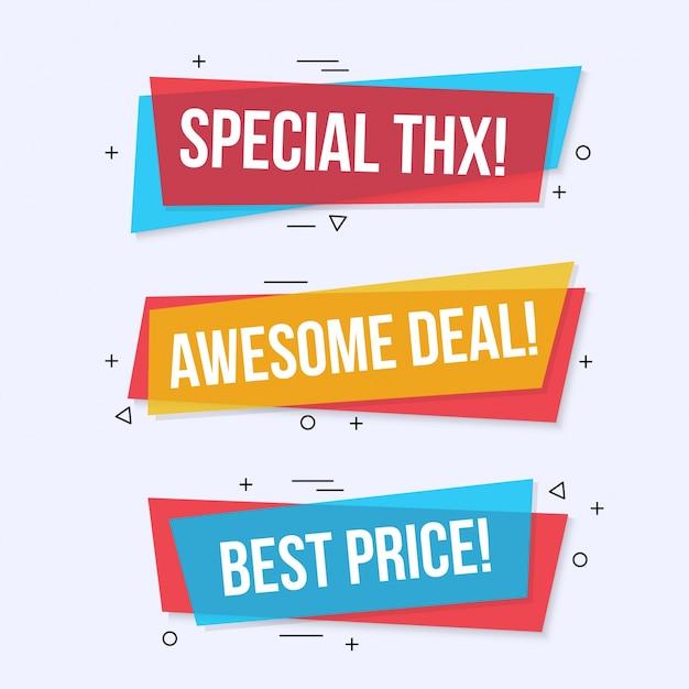 Moderne farbige Verkauf Banner gesetzt Kostenlose Vektoren