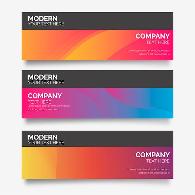 Moderne farbverlaufs-banner-sammlung Kostenlosen Vektoren