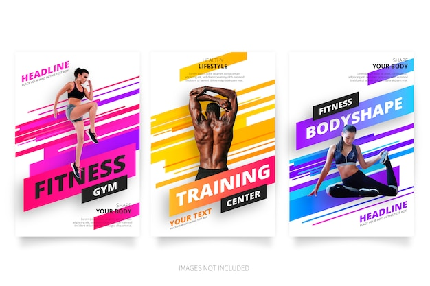 Moderne fitness- und fitnessbroschüren-kollektion Kostenlosen Vektoren