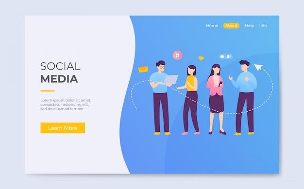 Moderne flache art-social media-kommunikations-ladenseitenillustration Premium Vektoren