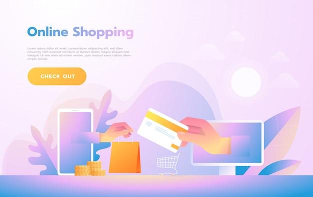 Moderne flache designleute und geschäftskonzept für m-commerce, bedienungsfreundlich und in hohem grade kundengerecht. modernes vektor-illustration-konzept. Premium Vektoren