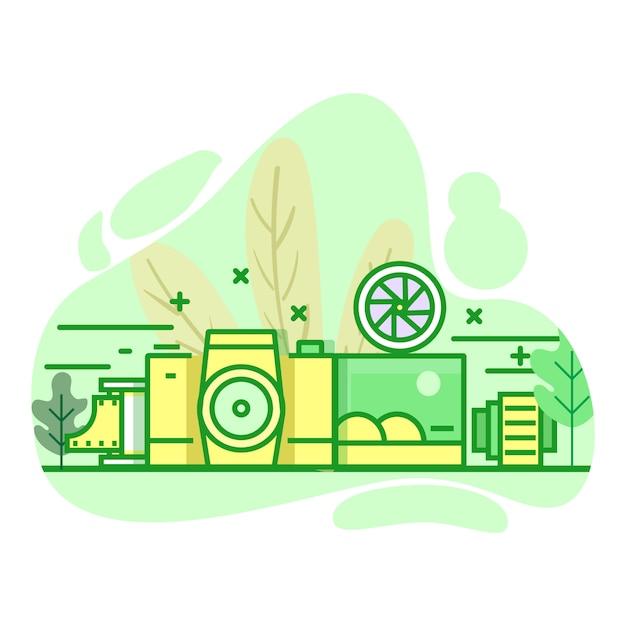 Moderne flache grüne illustration der fotografie farb Premium Vektoren