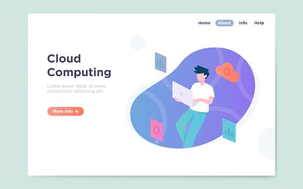 Moderne flache landingpage des cloud-computing-services Premium Vektoren