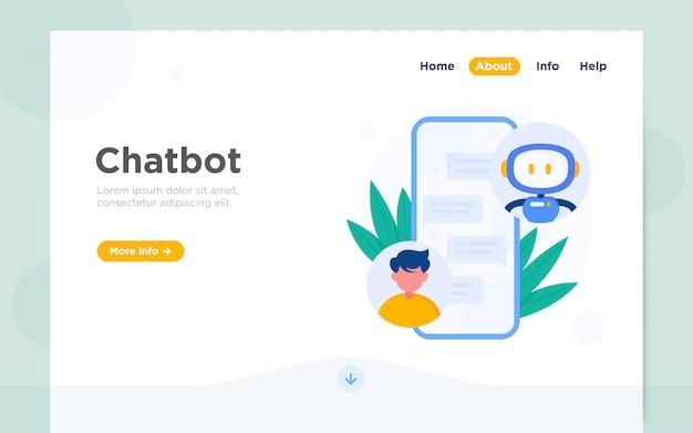 Moderne flache landingpage von chatbot Premium Vektoren
