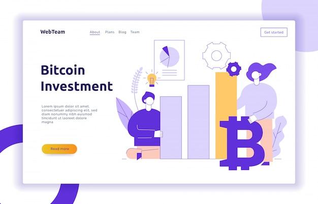 Moderne flache linie illustration der vektor bitcoin investition Premium Vektoren