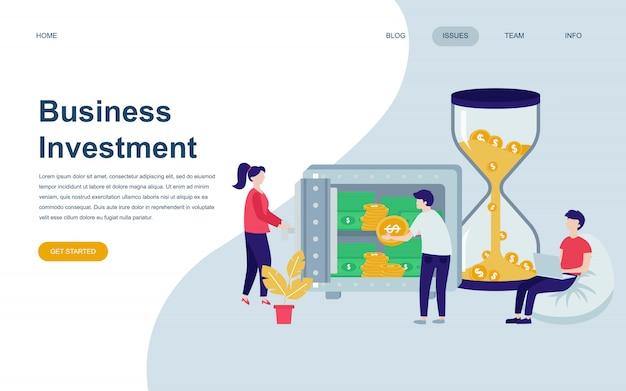Moderne flache webseite designvorlage von business investment Premium Vektoren