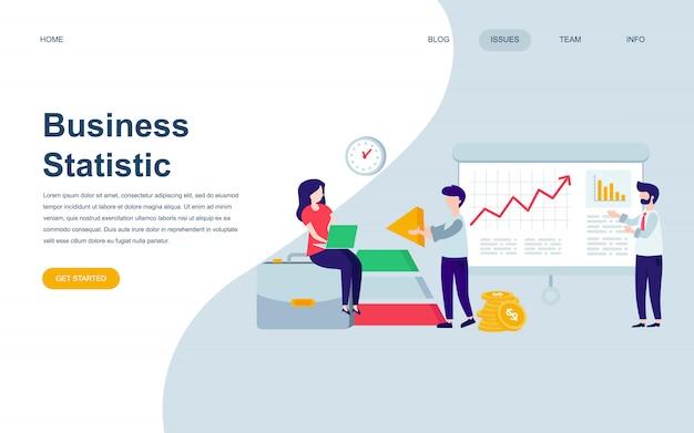 Moderne flache webseite designvorlage von business statistic Premium Vektoren