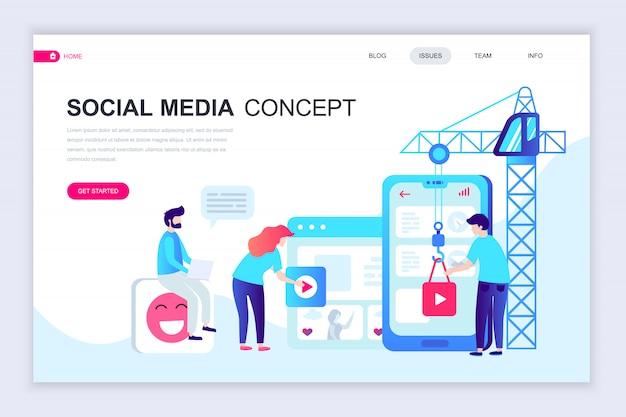 Moderne flache webseite designvorlage von social media Premium Vektoren