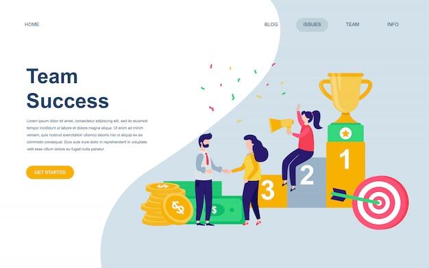 Moderne flache webseite designvorlage von team success Premium Vektoren