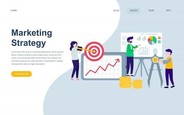 Moderne flache webseiten-designvorlage für marketingstrategie Premium Vektoren