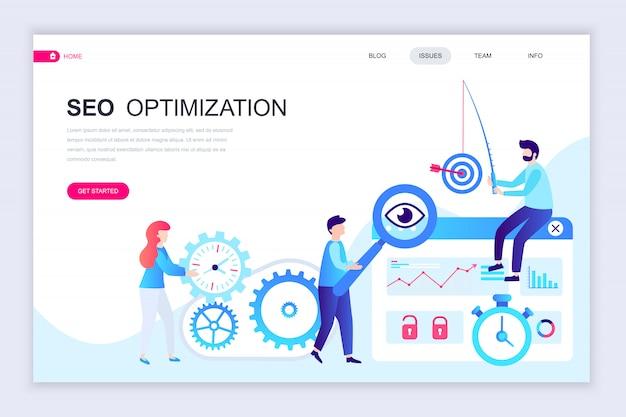 Moderne flache webseiten-designvorlage von seo analysis Premium Vektoren