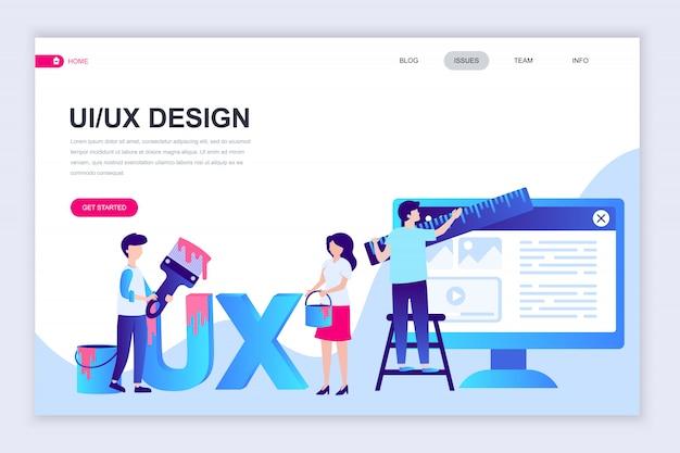Moderne flache webseiten-designvorlage von ux, ui design Premium Vektoren