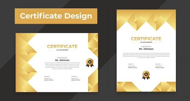 Moderne flache zertifikatvorlage Premium Vektoren