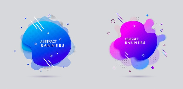 Moderne flüssige form banner verkauf plakatgestaltung Premium Vektoren
