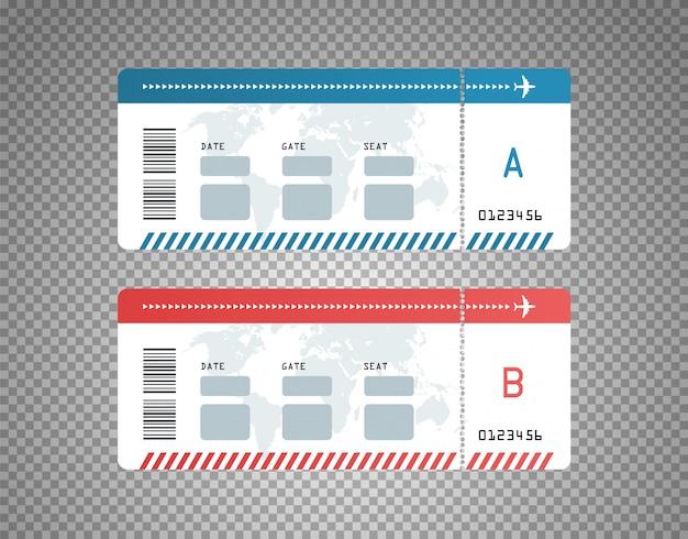 Moderne flugtickets designvorlage Premium Vektoren