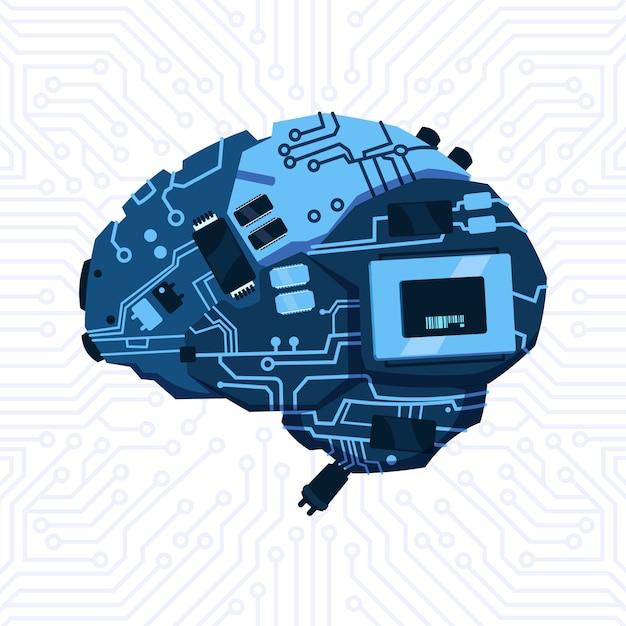 Moderne form von brain mechanism over circuit motherboard background Premium Vektoren