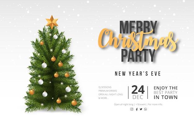 Moderne frohe weihnacht-party-karte mit realistischem baum Kostenlosen Vektoren