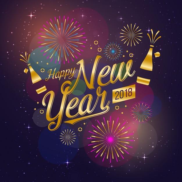 Moderne Frohes neues Jahr 2018 Celebration Card Kostenlose Vektoren
