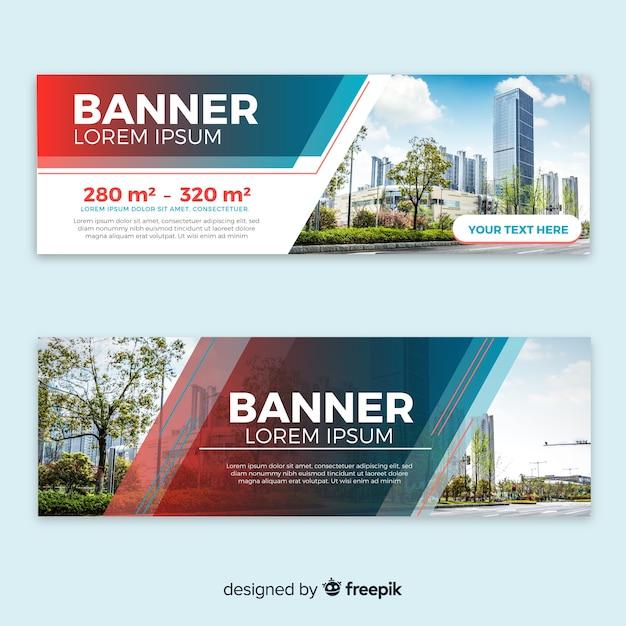 Moderne Gebäude Banner mit Foto Kostenlose Vektoren
