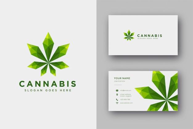 Moderne geometrische logo-inspiration von hanf / cannabis / marihuana, mit lowpoly-stil und visitenkartenvorlage Premium Vektoren