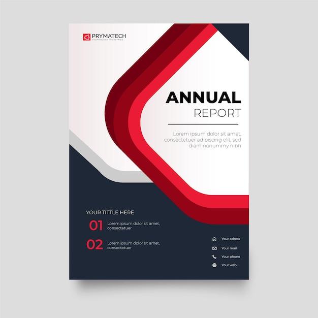 Moderne geschäftsbericht-broschürenvorlage mit roten formen Kostenlosen Vektoren
