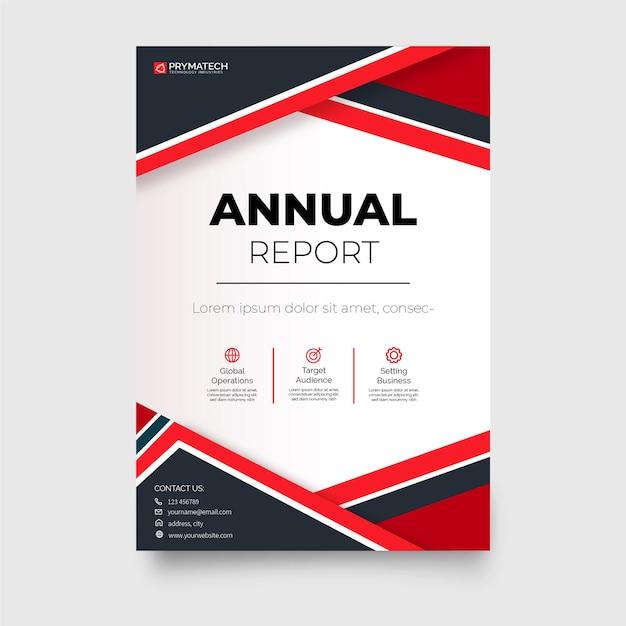 Moderne geschäftsbericht-geschäftsbroschürenvorlage mit abstrakten formen Kostenlosen Vektoren