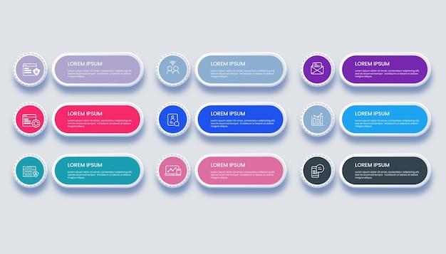Moderne geschäftsinfografik mit 9 optionsillustration Premium Vektoren