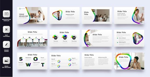 Moderne geschäftspräsentationsschablone mit regenbogenfarbe Premium Vektoren