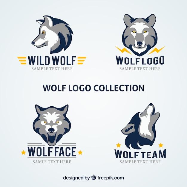 Moderne gesellschaft wolf logo kollektion Kostenlosen Vektoren