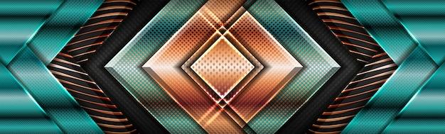 Moderne glänzende grüne geometrische mit goldener überlappung strukturierter schichthintergrund Premium Vektoren