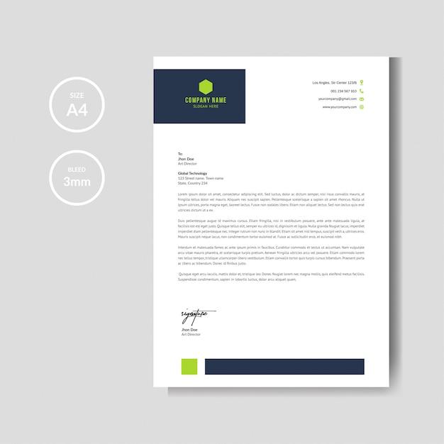 Moderne grüne briefkopfplanschablone Premium Vektoren