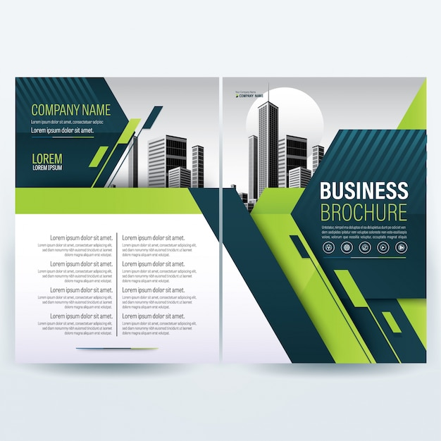 Moderne grüne Unternehmensbroschüre, Flyer Vorlage, Geschäftsbericht ...