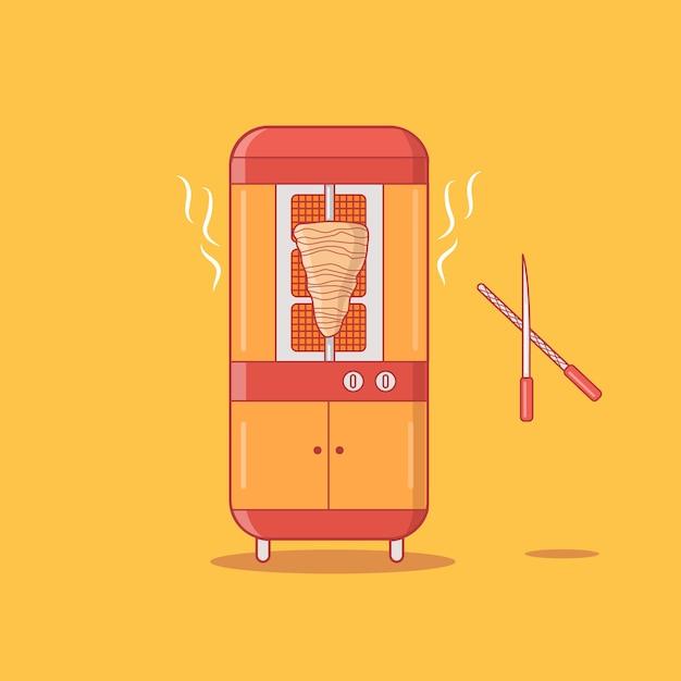 Moderne gyros shawarma-grill-maschinen-vektor-illustration Premium Vektoren