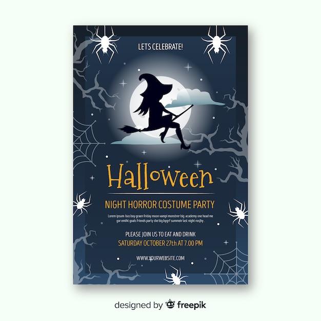 Moderne halloween-party-plakatschablone mit flachem design Kostenlosen Vektoren