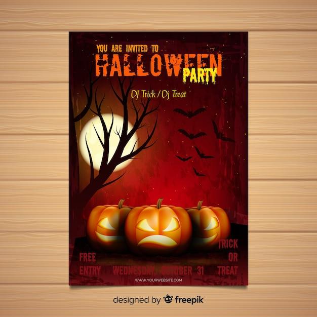 Moderne halloween-party-plakatschablone mit realistischem design Kostenlosen Vektoren