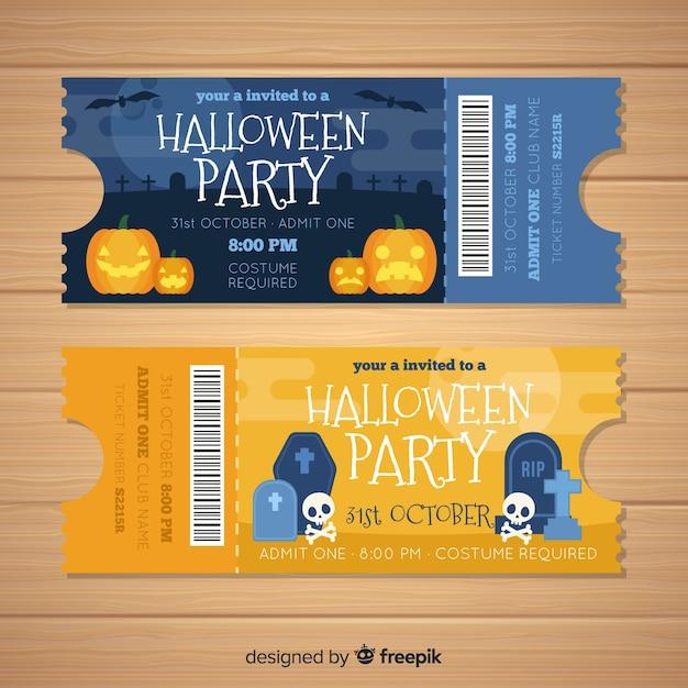 Moderne halloween-tickets Kostenlosen Vektoren