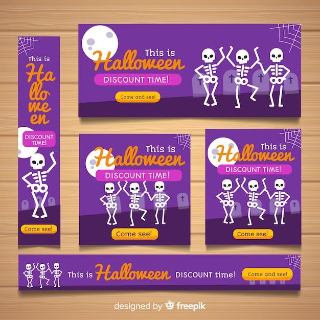 Moderne halloween web-banner-sammlung Kostenlosen Vektoren