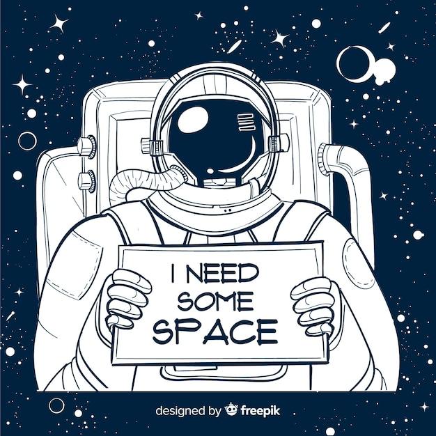 Moderne hand gezeichnete astronaut charakter Kostenlosen Vektoren