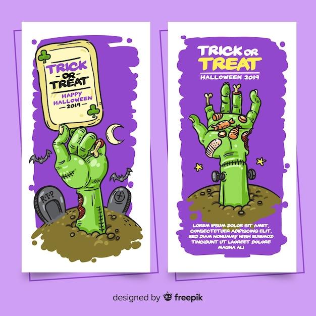Moderne hand gezeichnete halloween-fahnen Kostenlosen Vektoren