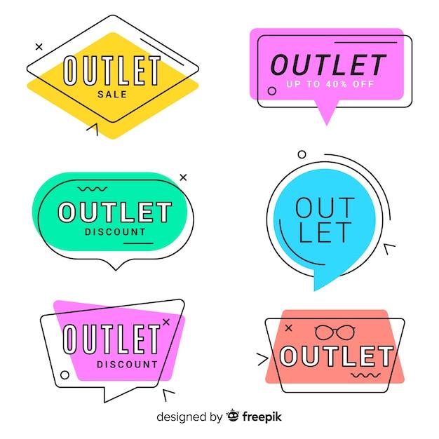 Moderne handgezeichnete outlet-abzeichen-sammlung Kostenlosen Vektoren