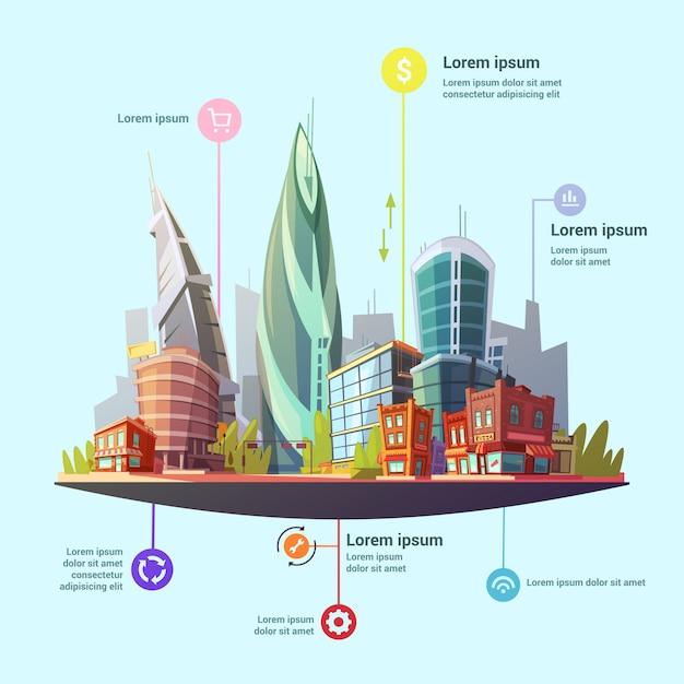 Moderne hauptstadt infografik Kostenlosen Vektoren