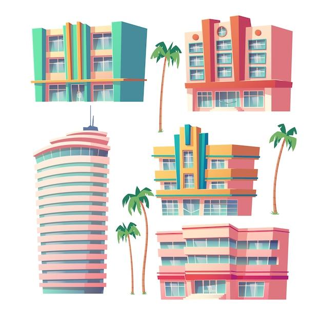 Moderne hotels und bürogebäude Kostenlosen Vektoren