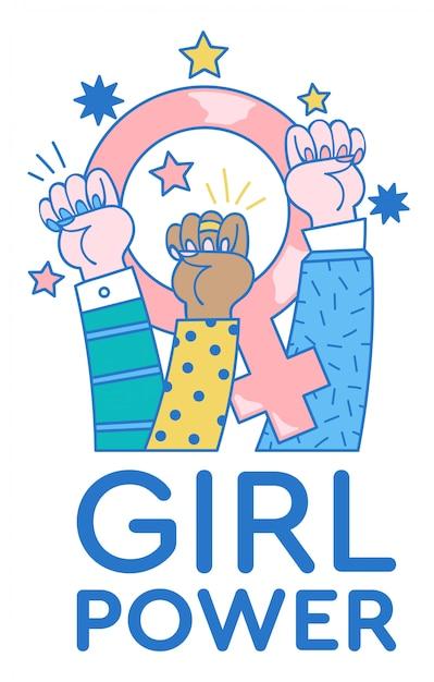 Moderne illustration mit drei weiblichen händen oben, die protestfäuste für das frauenrecht und mit feminismuszeichen innen zeigen. Premium Vektoren