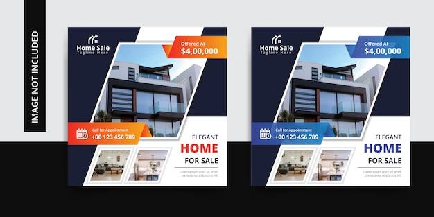 Moderne immobilien instagram social media-beitragsschablone Premium Vektoren