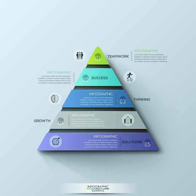 Moderne infografik-entwurfsvorlage, dreieckiges diagramm mit 5 nummerierten ebenen oder ebenen Premium Vektoren